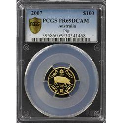 """2007 $100 Gold """"Pig"""" PCGS PR69DCAM"""