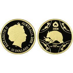 """2008 $10 Gold """"Rat"""" PCGS PR69DCAM"""