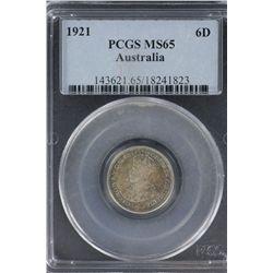 1921 6 Pence PCGS MS 65