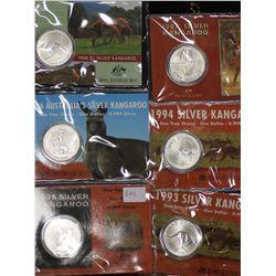 Kangaroo 1 oz Uncs 1993,94,95,96,97,98