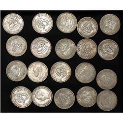 1940 Shillings , 20 coins VF or better