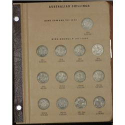 Complets set Australian Shillings in Dansco Supreme