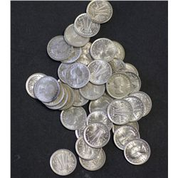 1961 Threepences, broken roll of 50 coins BU
