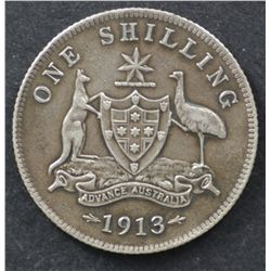 1913 Shilling Extremely Fine , cleaned