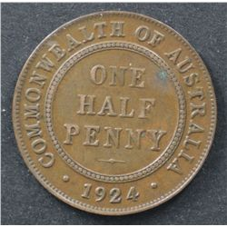 1924 Halfpenny Extremely Fine