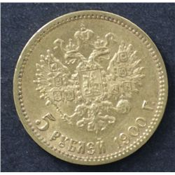 Russia Gold 5 Rouble  1900, EF