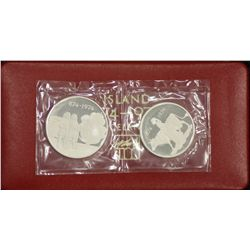 Iceland Proof Pair 1974, in box of issue