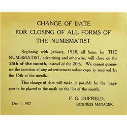 1927 NUMISMATIST FORM