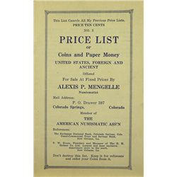 RARE MENGELLE PRICE LIST