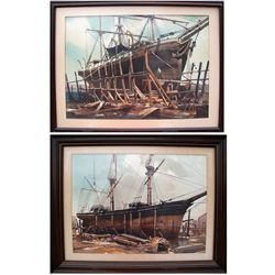 James Reynolds: Two ship watercolor paintings