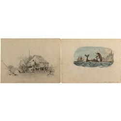 Whale Capsizing Sketch, c. 1870s, John Mazzanovich