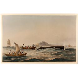 """Sperm Whaling, No. 1---The Chase"" Color Lithograph"