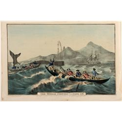 """The Whale Fishery 'Laying On.'"" Lithograph, c. 1852,  N. Currier"