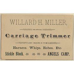 Willard H. Miller Angels Camp business card