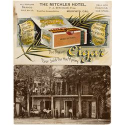 Mitchler Hotel business card and post card