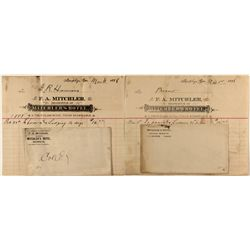 Two 1898 Mitchler's Hotel billheads and envelopes