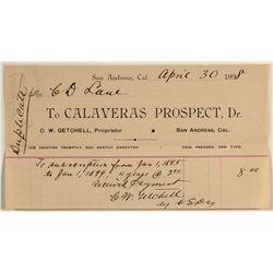Calaveras Prospect billhead
