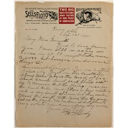 "Col. W.F. Cody, ""Buffalo Bill,"" Personal Letter, Battle of Summit Springs, 1915"
