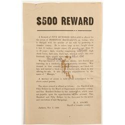 Reward Poster 1889 for Murder Suspect