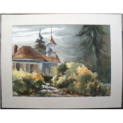 Dorner Schueler watercolor: Old Church in Murphys, California