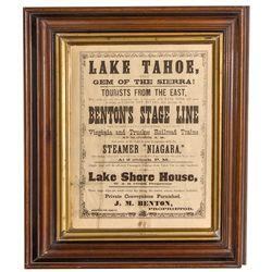 Lake Tahoe Broadside: Benton stage, Niagara steamer