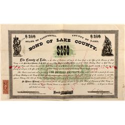 $250 Bond of Lake County, State of California, 1870.