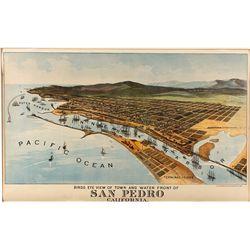 San Pedro Harbor Crocker Lithograph