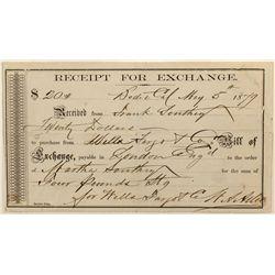 Bill of Exchange, Wells Fargo, Bodie, CA