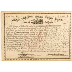 Mono County Road Fund $50 Bond, 1878.