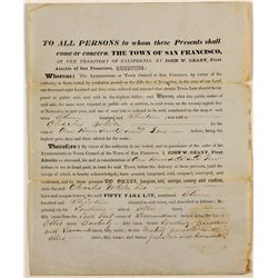 San Francisco, California Territorial Document from John Geary, First Alcalde