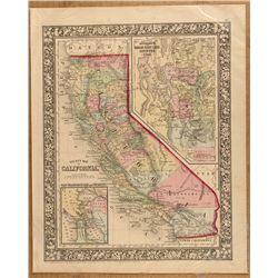 1860 California Map by S.A. Mitchell w/ Salt Lake & Utah