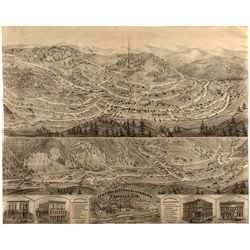 Central City and Blackhawk, CO Lithograph 1873