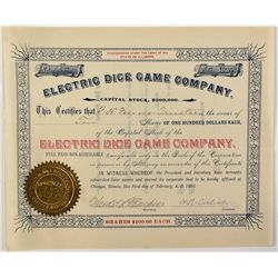 Electric Dice Game Co. Stock Certificate