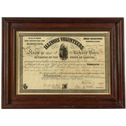 Framed Illinois Volunteers Civil War Document
