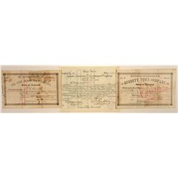 Set of 3 Kansas Land Company Stock Certificates, 1880s