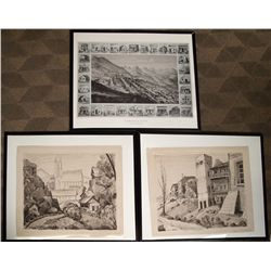 Two Virginia City prints from Jean de Strelecki and an iconic drawing.