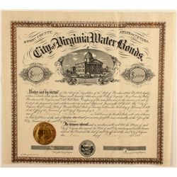 Virginia City Water Bond Certificate