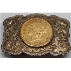 Harris Estate Silver Belt Buckle w/$20 gold coin piece