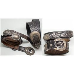 Three Western belts w/ silver buckles