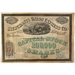 Merchants Union Express Co. Stock Cert. 1867