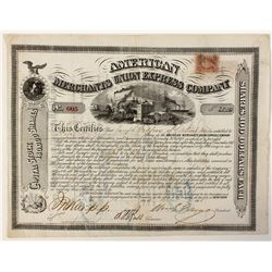 Merchants Union Express Co. Stock Certificate 1868