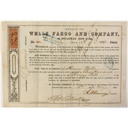 Wells Fargo and Company Stock Certificate for Henry Wells