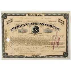 American Express Co. Stock Certificate 1878