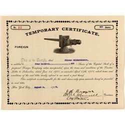 Temporary Foreign Stock Certificate