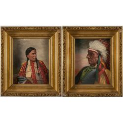 Two Native American Oil Paintings by John Mulvany