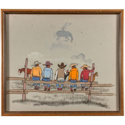 Beatien Yazz Framed Painting of Native Cowboys