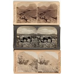 Mining Pack Mules and Prospector Stereoviews