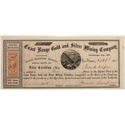 Coast Range Gold & Silver Mining Co. Stock Cert.