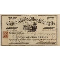 Crystal Gold & Silver Mining Co. Stock Cert.