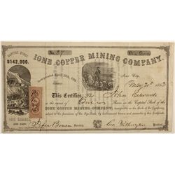 Ione Cooper Mining Co. Stock Certificate